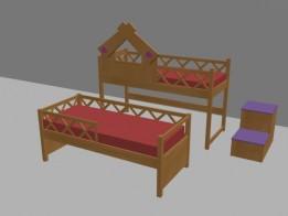 Кровать двухъярусная, выкатная.